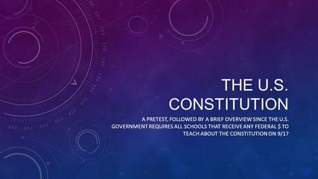 THE U.S. CONSTITUTION A PRETEST, FOLLOWED BY A BRIEF OVERVIEW SINCE THE U.S. GOVERNMENT REQUIRES ALL SCHOOLS THAT RECEIVE ANY FEDERAL $ TO TEACH ABOUT.