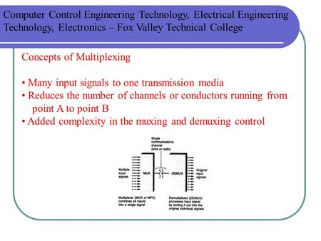 Concepts of Multiplexing Many input signals to one transmission media Reduces the number of channels or conductors running from point A to point B Added.