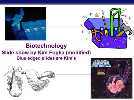 AP Biology 2007-2008 Biotechnology Slide show by Kim Foglia (modified) Blue edged slides are Kim's.