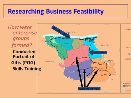 Researching Business Feasibility How were enterprise groups formed?  Conducted Portrait of Gifts (POG)  Skills Training Young people Upland women.