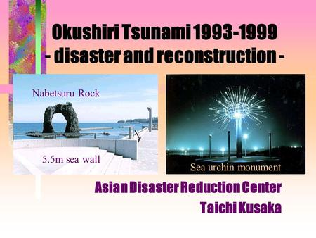 Okushiri Tsunami 1993-1999 - disaster and reconstruction - Asian Disaster Reduction Center Taichi Kusaka 5.5m sea wall Sea urchin monument Nabetsuru Rock.