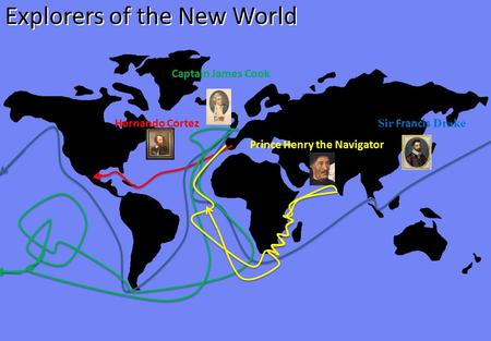 Explorers of the New World Hernando Cortez Sir Francis Drake Captain James Cook Prince Henry the Navigator.