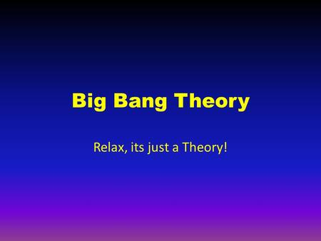 Big Bang Theory Relax, its just a Theory!. What the Theory Says Some scientists theorize that at one time, all of the matter in the universe was condensed.