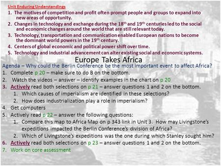 Europe Takes Africa Unit Enduring Understandings 1. The motives of competition and profit often prompt people and groups to expand into new areas of opportunity.