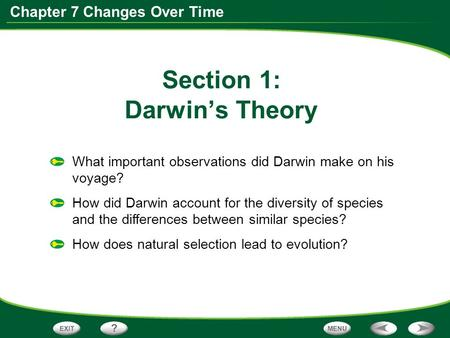 Chapter 7 Changes Over Time Section 1: Darwin's Theory What important observations did Darwin make on his voyage? How did Darwin account for the diversity.