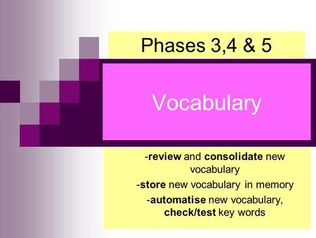 -review and consolidate new vocabulary -store new vocabulary in memory -automatise new vocabulary, check/test key words Vocabulary Phases 3,4 & 5.