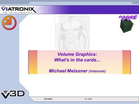 6/21/2005VG 2005 Volume Graphics: What's in the cards... Michael Meissner (Viatronix)