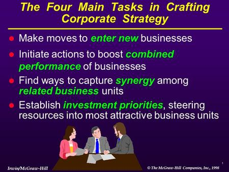 1 © The McGraw-Hill Companies, Inc., 1998 Irwin/McGraw-Hill The Four Main Tasks in Crafting Corporate Strategy l Make moves to enter new businesses l Initiate.