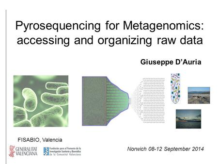 Pyrosequencing for Metagenomics: accessing and organizing raw data Giuseppe D'Auria FISABIO, Valencia Norwich 08-12 September 2014.