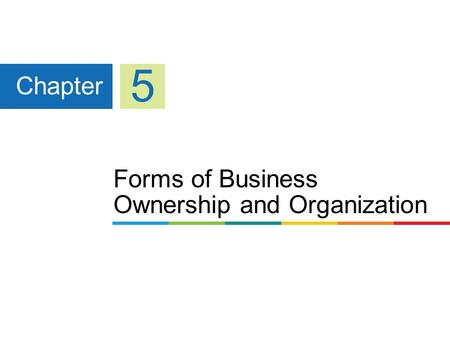 Forms of Business Ownership and Organization Chapter 5.