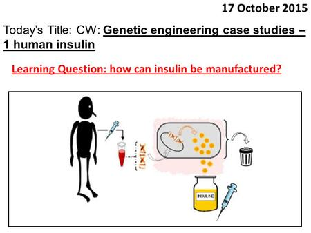 17 October 2015 Today's Title: CW: Genetic engineering case studies – 1 human insulin Learning Question: how can insulin be manufactured?