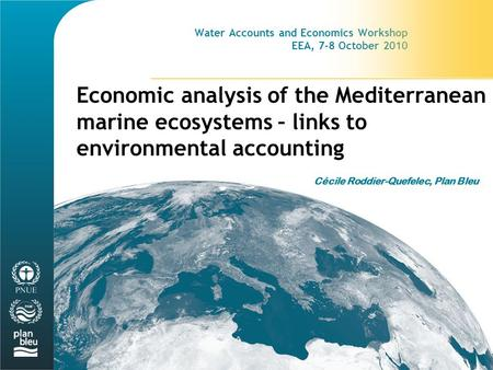 Water Accounts and Economics Workshop EEA, 7-8 October 2010 Economic analysis of the Mediterranean marine ecosystems – links to environmental accounting.