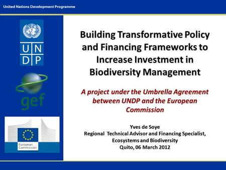 Building Transformative Policy and Financing Frameworks to Increase Investment in Biodiversity Management A project under the Umbrella Agreement between.