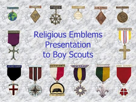 Religious Emblems Presentation to Boy Scouts. Duty to God Brochure.