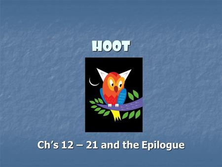Hoot Ch's 12 – 21 and the Epilogue. Hoot – ch's 13 and 14 technical - According to principle; formal rather than practical technical - According to principle;