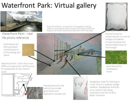 Waterfront Park: Virtual gallery Waterfront Park: - concept for Virtual gallery setting. Likely to vary slightly due to issues with space. Platforms of.
