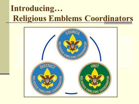 Introducing… Religious Emblems Coordinators. PURPOSE: Encourage all youth to earn the emblem of their faith Promote religious emblems usage like BSA promotes.