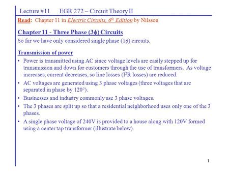 Lecture #11 EGR 272 – Circuit Theory II