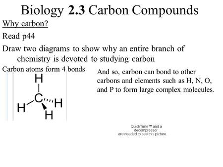 Biology 2.3 Carbon Compounds