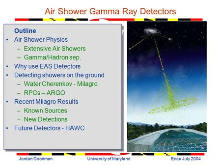 Erice July 2004Jordan GoodmanUniversity of Maryland Air Shower Gamma Ray Detectors Outline Air Shower Physics –Extensive Air Showers –Gamma/Hadron sep.