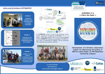 INTERREG IV A « 2 Mers Sea Zeeën » The DYMAPHY project is part of the European cross- border cooperation programme INTERREG IV A « 2 Seas ». The project.