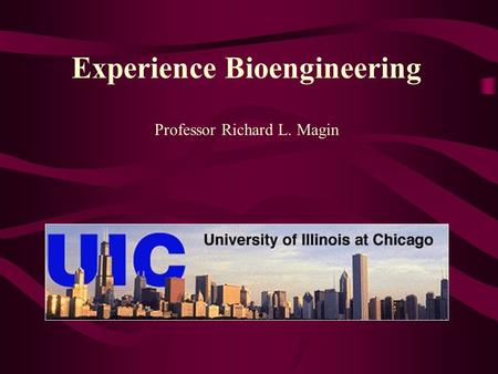 Experience Bioengineering Professor Richard L. Magin.