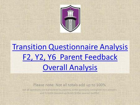 Transition Questionnaire Analysis F2, Y2, Y6 Parent Feedback Overall Analysis Please note: Not all totals add up to 100% not all questions were answered.