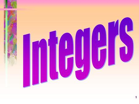 1. 2 What is an integer? An integer is any number from the set {... -3, -2, -1, 0, +1, +2, +3,... } where... means without end. -9 -8 -7 -6 -5 -4 -3 -2.