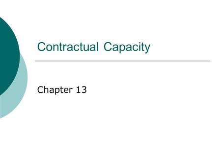 Contractual Capacity Chapter 13. Limited Capacity  Minors  Incompetent Persons Intoxication Mentally Incompetent Persons.