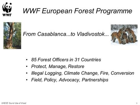 UNECE Sound Use of Wood 1 From Casablanca...to Vladivostok... 85 Forest Officers in 31 Countries Protect, Manage, Restore Illegal Logging, Climate Change,