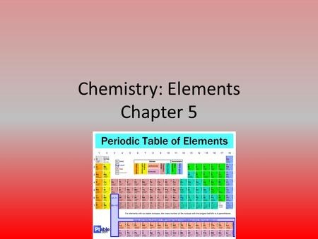 Chemistry: Elements Chapter 5