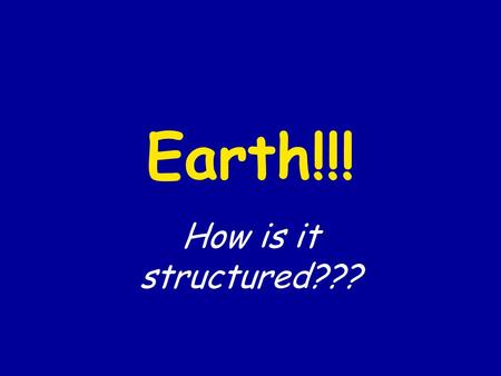 Earth!!! How is it structured???. Draw what you believe the structure of the Earth is. Be sure to label all of your layers!!!