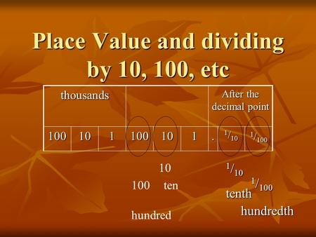 Place Value and dividing by 10, 100, etc
