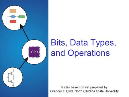 Bits, Data Types, and Operations Slides based on set prepared by Gregory T. Byrd, North Carolina State University.
