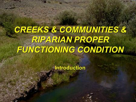 1 CREEKS & COMMUNITIES & RIPARIAN PROPER FUNCTIONING CONDITION Introduction.
