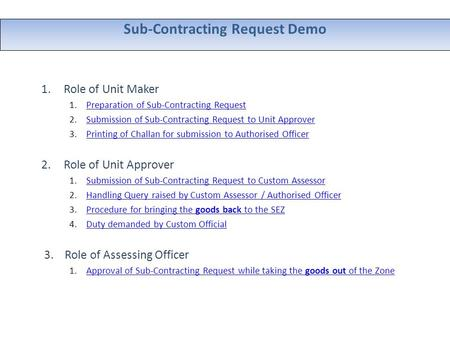 Sub-Contracting Request Demo 1.Role of Unit Maker 1.Preparation of Sub-Contracting RequestPreparation of Sub-Contracting Request 2.Submission of Sub-Contracting.