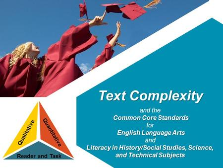 Text Complexity and the Common Core Standards Common Core Standards for English Language Arts and Literacy in History/Social Studies, Science, and Technical.