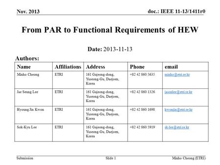 Doc.: IEEE 11-13/1411r0 Submission Nov. 2013 Minho Cheong (ETRI)Slide 1 From PAR to Functional Requirements of HEW Date: 2013-11-13 Authors: NameAffiliationsAddressPhoneemail.