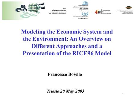 1 Modeling the Economic System and the Environment: An Overview on Different Approaches and a Presentation of the RICE96 Model Francesco Bosello Trieste.