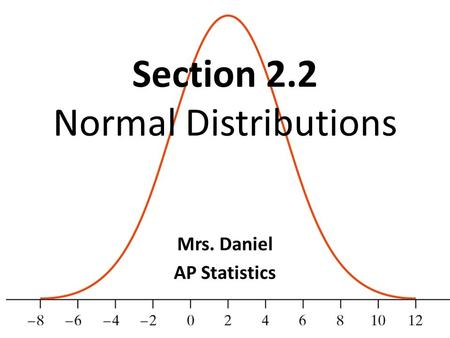 Section 2.2 Normal Distributions Mrs. Daniel AP Statistics.