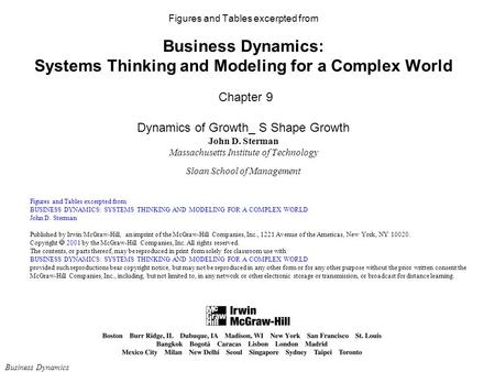 Figures and Tables excerpted from Business Dynamics: Systems Thinking and Modeling for a Complex World Chapter 9 Dynamics of Growth_ S Shape Growth.