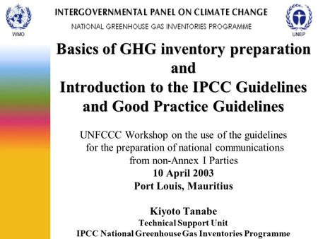 Basics of GHG inventory preparation and Introduction to the IPCC Guidelines and Good Practice Guidelines UNFCCC Workshop on the use of the guidelines.
