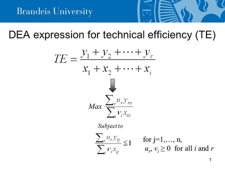 DEA expression for technical efficiency (TE) 1 Max for j=1, …, n, u r, v i ≥ 0 for all i and r Subject to.