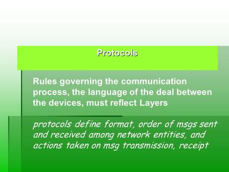 Protocols Rules governing the communication process, the language of the deal between the devices, must reflect Layers protocols define format, order of.