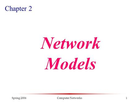 Spring 2006Computer Networks1 Chapter 2 Network Models.