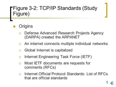 1 Figure 3-2: TCP/IP Standards (Study Figure) Origins  Defense Advanced Research Projects Agency (DARPA) created the ARPANET  An internet connects multiple.