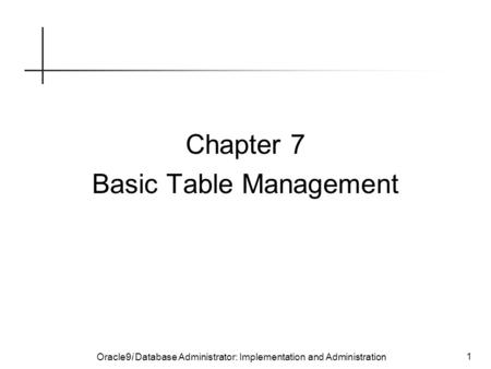 Oracle9i Database Administrator: Implementation and Administration 1 Chapter 7 Basic Table Management.