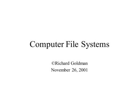 Computer File Systems ©Richard Goldman November 26, 2001.
