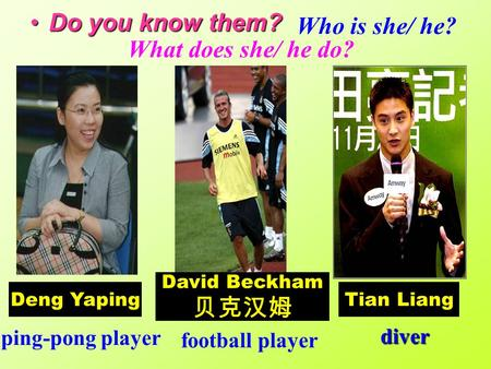 Do you know them?Do you know them? Deng Yaping David Beckham 贝克汉姆 Tian Liang ping-pong player football player diver What does she/ he do? Who is she/