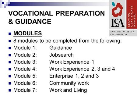 VOCATIONAL PREPARATION & GUIDANCE MODULES 8 modules to be completed from the following: Module 1:Guidance Module 2:Jobsearch Module 3:Work Experience 1.